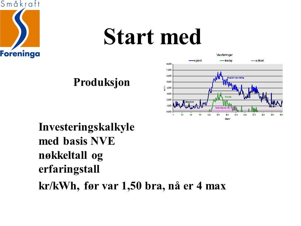 Start med Produksjon Investeringskalkyle med basis NVE nøkkeltall og erfaringstall kr/kWh, før var 1,50 bra, nå er 4 max