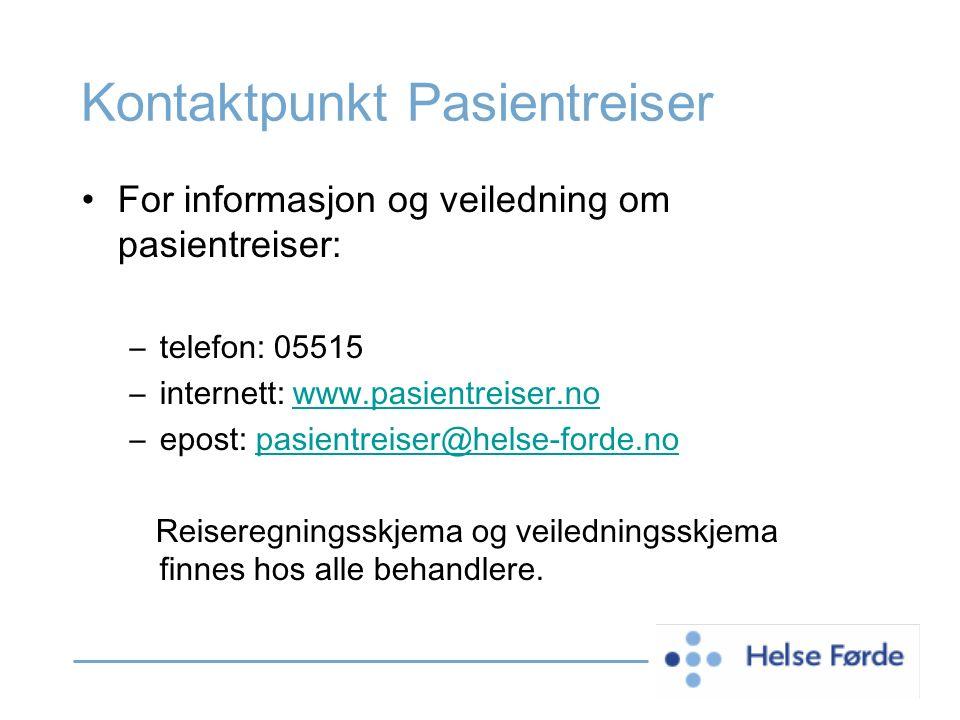 Kontaktpunkt Pasientreiser For informasjon og veiledning om pasientreiser: –telefon: 05515 –internett: www.pasientreiser.nowww.pasientreiser.no –epost