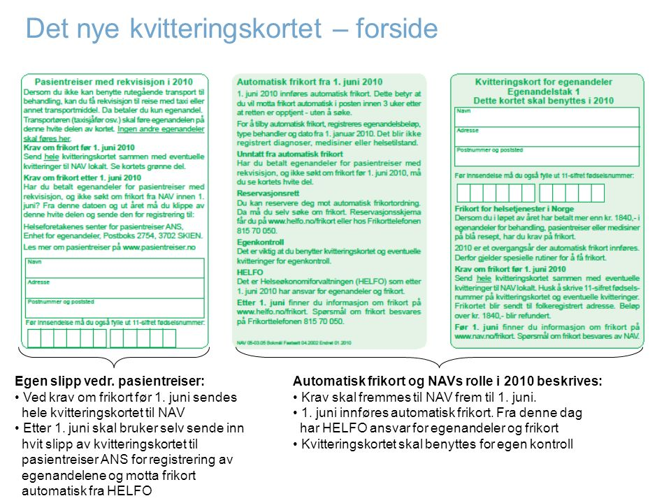 Det nye kvitteringskortet – forside Automatisk frikort og NAVs rolle i 2010 beskrives: Krav skal fremmes til NAV frem til 1. juni. 1. juni innføres au
