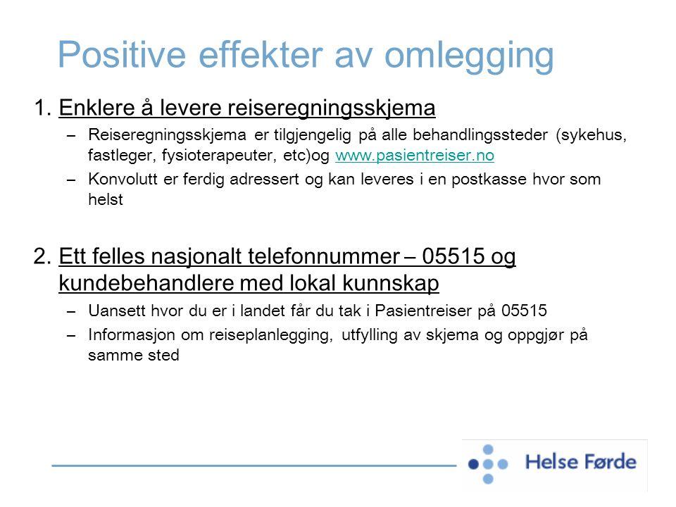 Positive effekter av omlegging 1.Enklere å levere reiseregningsskjema –Reiseregningsskjema er tilgjengelig på alle behandlingssteder (sykehus, fastleg