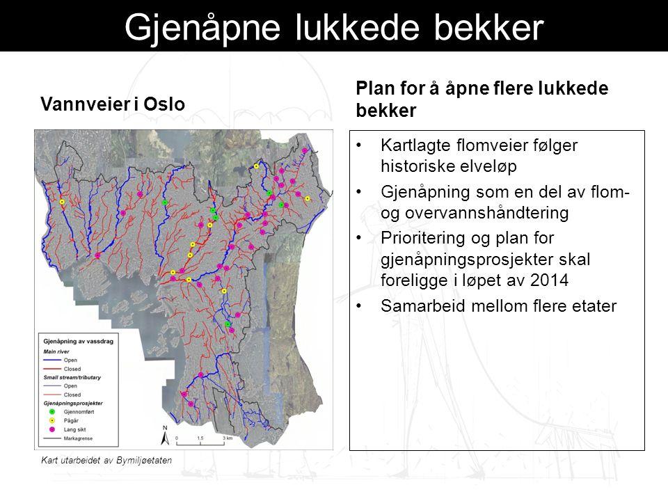 Gjenåpne lukkede bekker Vannveier i Oslo Plan for å åpne flere lukkede bekker Kartlagte flomveier følger historiske elveløp Gjenåpning som en del av flom- og overvannshåndtering Prioritering og plan for gjenåpningsprosjekter skal foreligge i løpet av 2014 Samarbeid mellom flere etater Kart utarbeidet av Bymiljøetaten