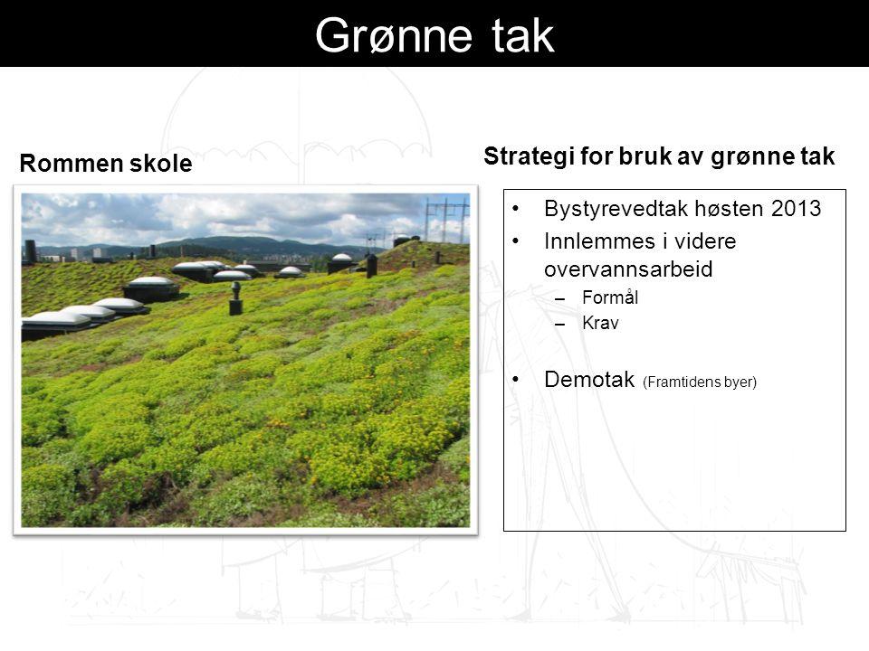 Grønne tak Rommen skole Strategi for bruk av grønne tak Bystyrevedtak høsten 2013 Innlemmes i videre overvannsarbeid –Formål –Krav Demotak (Framtidens byer)