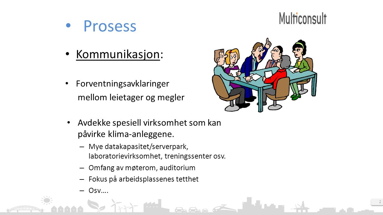 2 Prosess Kommunikasjon: Forventningsavklaringer mellom leietager og megler Avdekke spesiell virksomhet som kan påvirke klima-anleggene. – Mye datakap