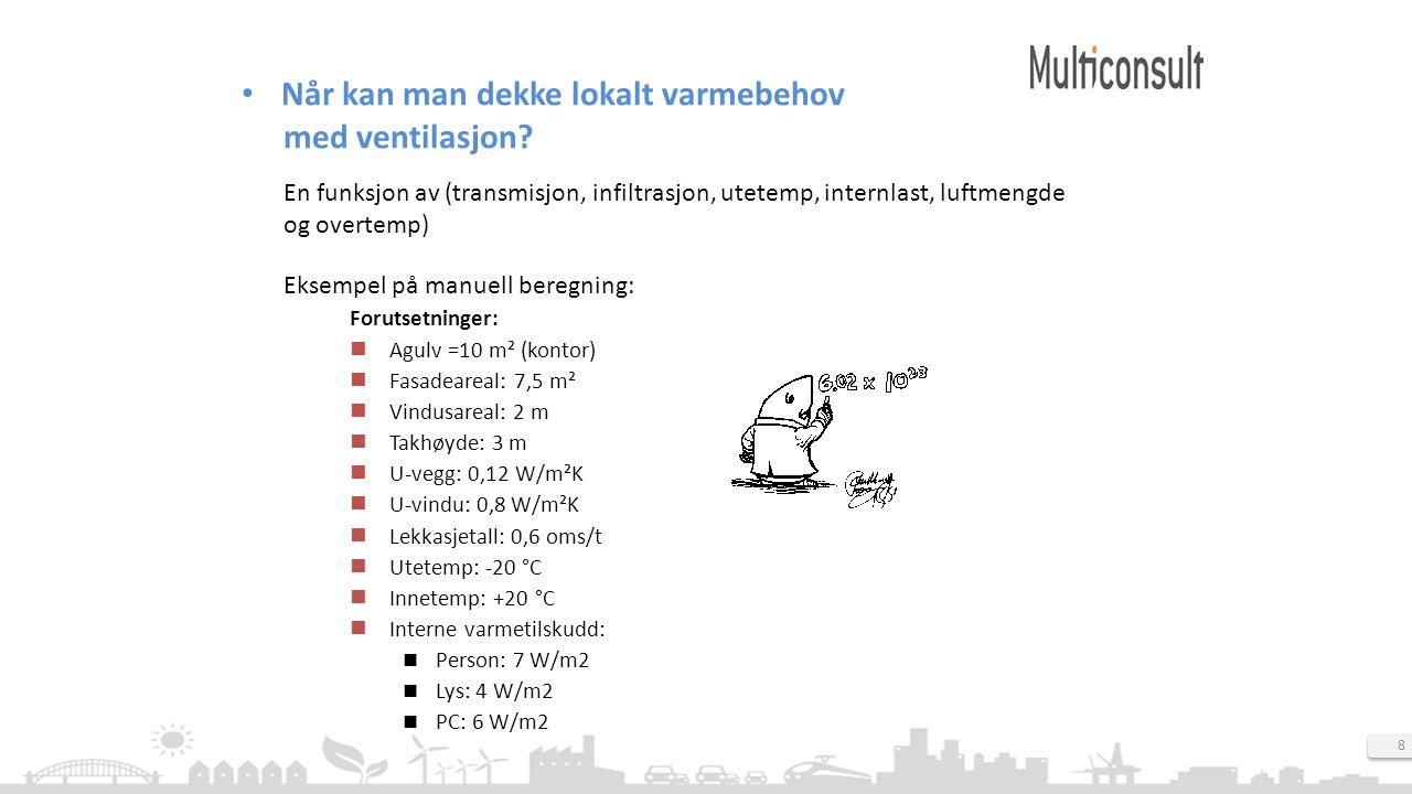 8 Når kan man dekke lokalt varmebehov med ventilasjon? Forutsetninger: Agulv =10 m² (kontor) Fasadeareal: 7,5 m² Vindusareal: 2 m Takhøyde: 3 m U-vegg