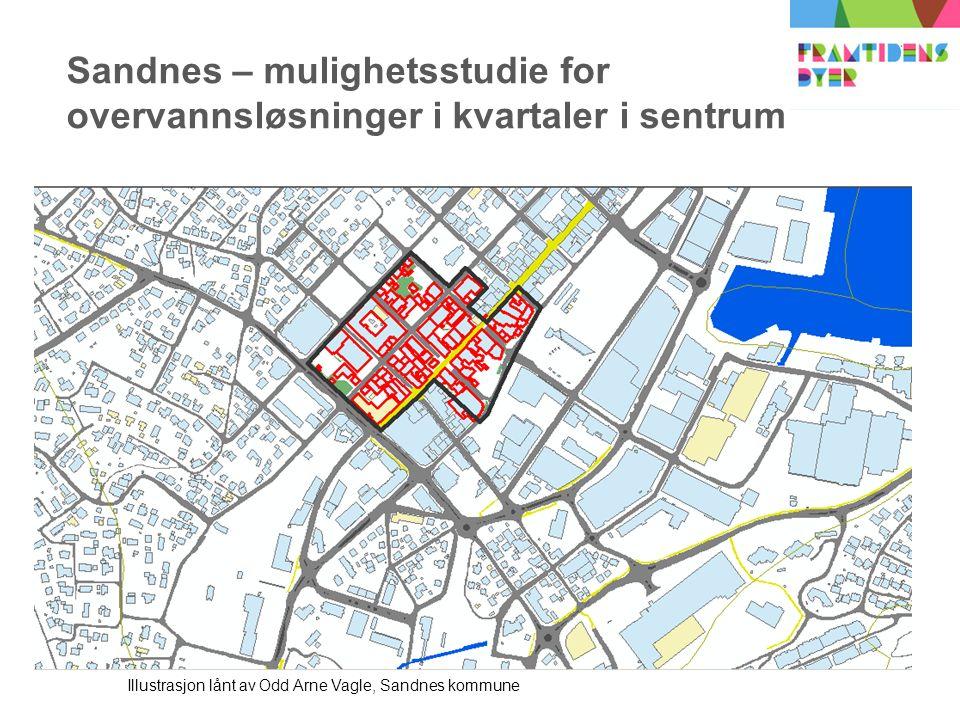 Sandnes – mulighetsstudie for overvannsløsninger i kvartaler i sentrum Illustrasjon lånt av Odd Arne Vagle, Sandnes kommune
