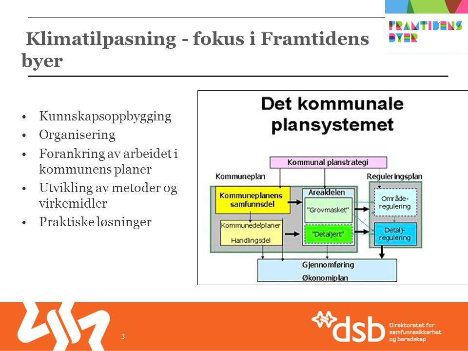 Kunnskapsoppbygging Organisering Forankring av arbeidet i kommunens planer Utvikling av metoder og virkemidler Praktiske løsninger 3 Klimatilpasning - fokus i Framtidens byer