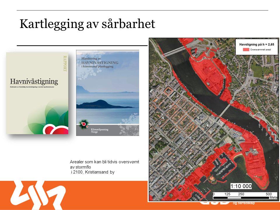 Arealer som kan bli tidvis oversvømt av stormflo i 2100, Kristiansand by Kartlegging av sårbarhet