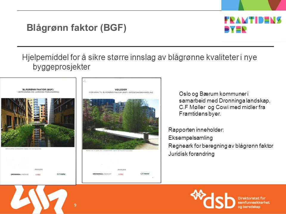 Blågrønn faktor (BGF) 9 Hjelpemiddel for å sikre større innslag av blågrønne kvaliteter i nye byggeprosjekter Oslo og Bærum kommuner i samarbeid med Dronninga landskap, C.F Møller og Cowi med midler fra Framtidens byer.
