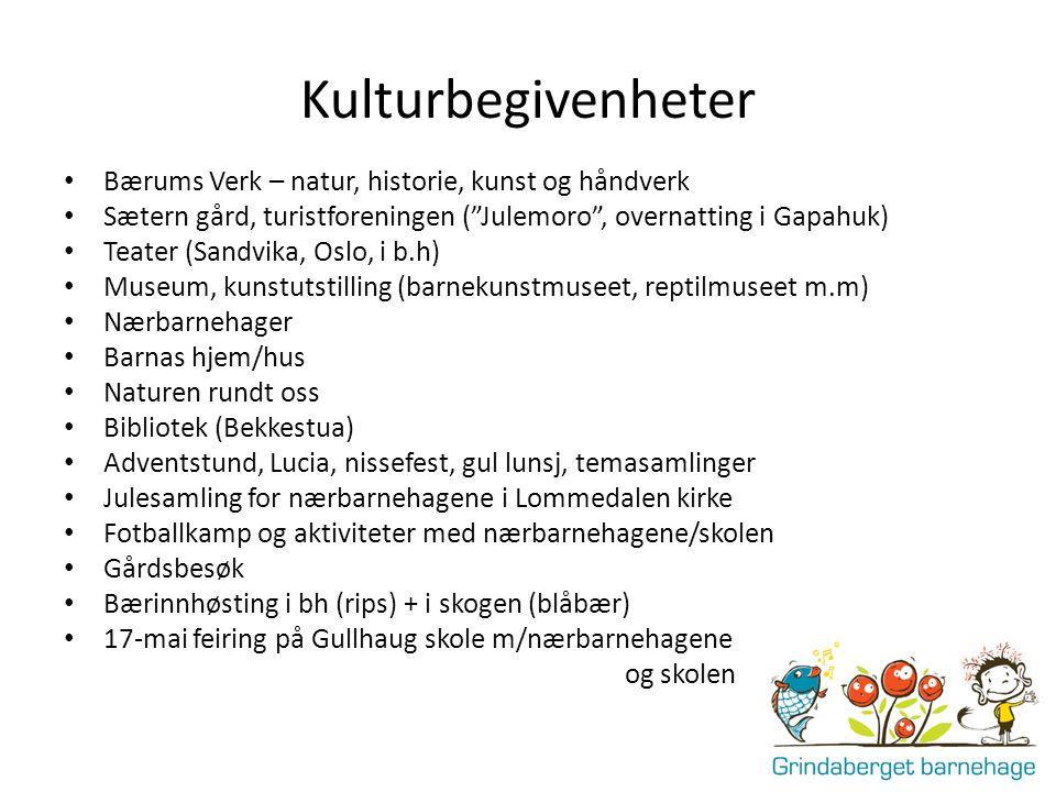 """Kulturbegivenheter Bærums Verk – natur, historie, kunst og håndverk Sætern gård, turistforeningen (""""Julemoro"""", overnatting i Gapahuk) Teater (Sandvika"""