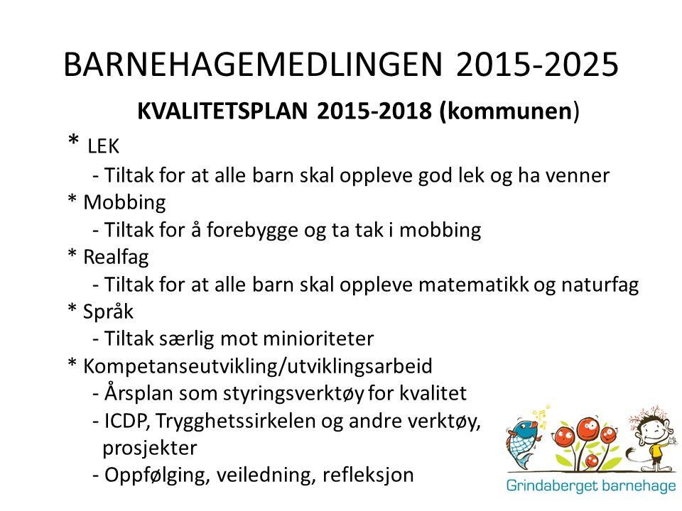 BARNEHAGEMEDLINGEN 2015-2025 KVALITETSPLAN 2015-2018 (kommunen) * LEK - Tiltak for at alle barn skal oppleve god lek og ha venner * Mobbing - Tiltak f