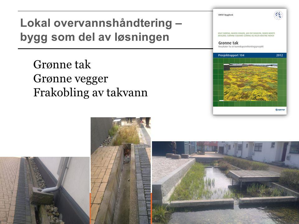 Lokal overvannshåndtering – bygg som del av løsningen Grønne tak Grønne vegger Frakobling av takvann