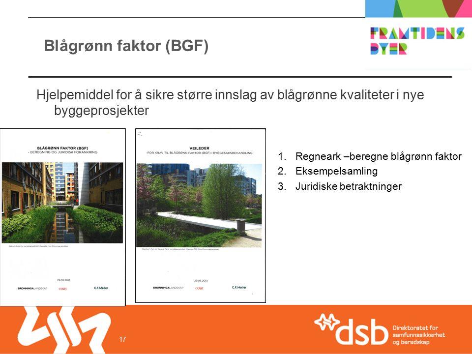 Blågrønn faktor (BGF) 17 Hjelpemiddel for å sikre større innslag av blågrønne kvaliteter i nye byggeprosjekter 1.Regneark –beregne blågrønn faktor 2.Eksempelsamling 3.Juridiske betraktninger
