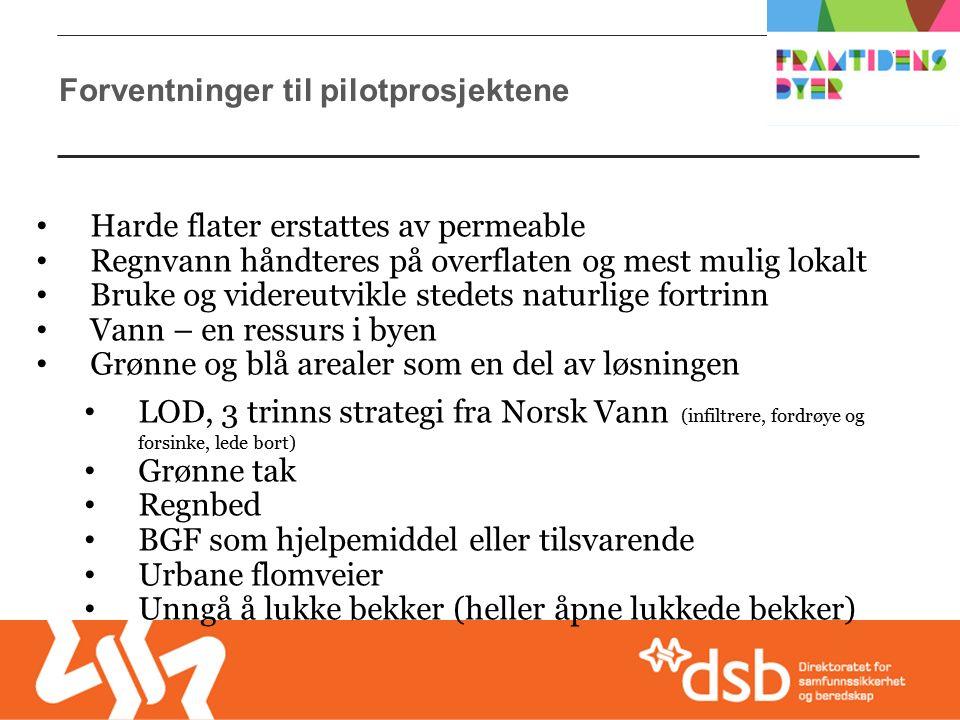 Forventninger til pilotprosjektene Harde flater erstattes av permeable Regnvann håndteres på overflaten og mest mulig lokalt Bruke og videreutvikle stedets naturlige fortrinn Vann – en ressurs i byen Grønne og blå arealer som en del av løsningen LOD, 3 trinns strategi fra Norsk Vann (infiltrere, fordrøye og forsinke, lede bort) Grønne tak Regnbed BGF som hjelpemiddel eller tilsvarende Urbane flomveier Unngå å lukke bekker (heller åpne lukkede bekker)