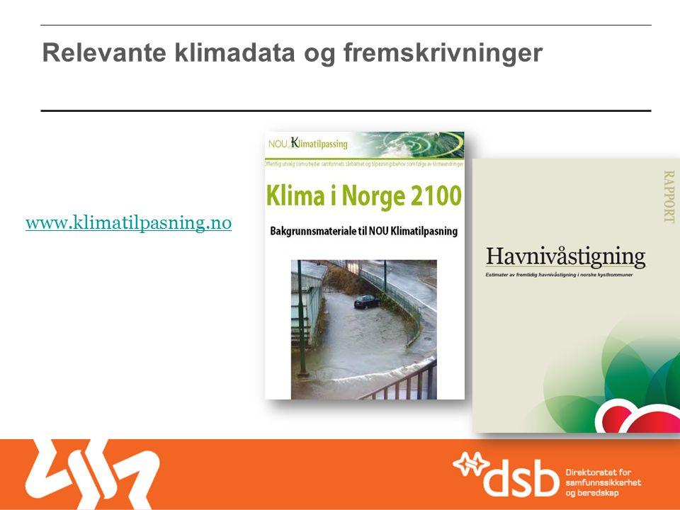 Relevante klimadata og fremskrivninger www.klimatilpasning.no