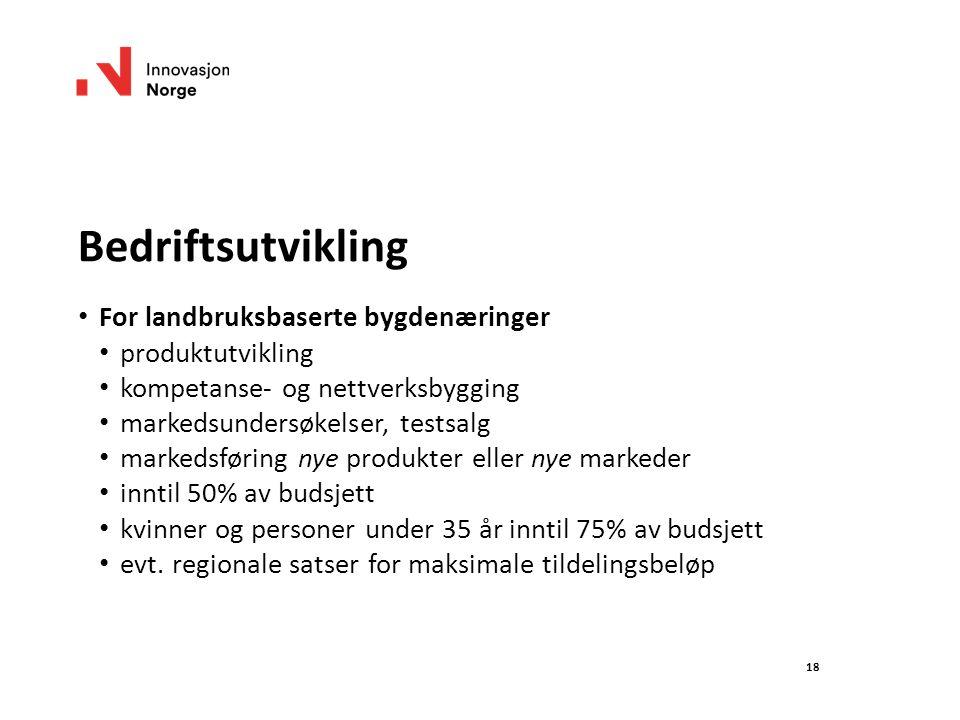 18 Bedriftsutvikling For landbruksbaserte bygdenæringer produktutvikling kompetanse- og nettverksbygging markedsundersøkelser, testsalg markedsføring