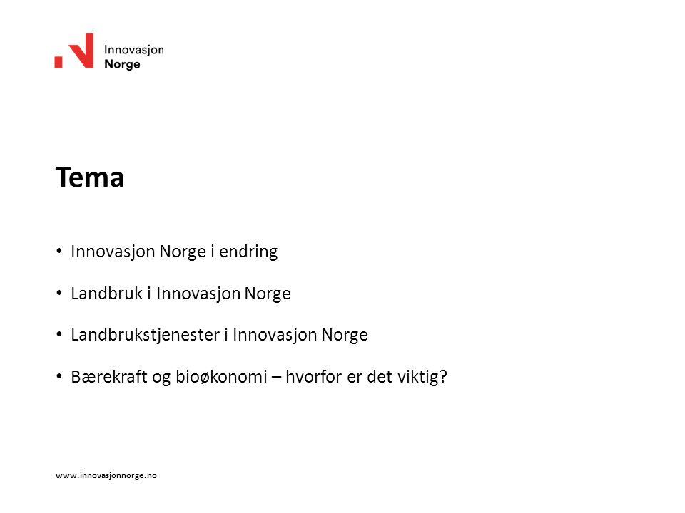 Tema Innovasjon Norge i endring Landbruk i Innovasjon Norge Landbrukstjenester i Innovasjon Norge Bærekraft og bioøkonomi – hvorfor er det viktig? www