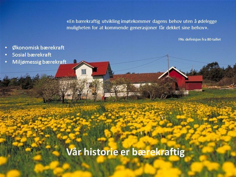Vår historie er bærekraftig «En bærekraftig utvikling imøtekommer dagens behov uten å ødelegge muligheten for at kommende generasjoner får dekket sine