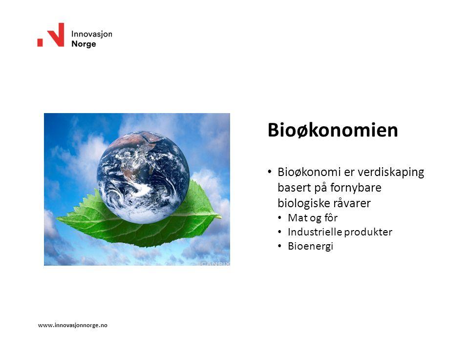 Bioøkonomien Bioøkonomi er verdiskaping basert på fornybare biologiske råvarer Mat og fôr Industrielle produkter Bioenergi www.innovasjonnorge.no