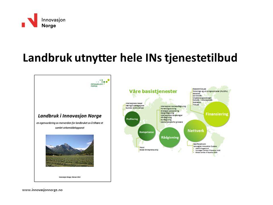 Landbruk utnytter hele INs tjenestetilbud www.innovasjonnorge.no