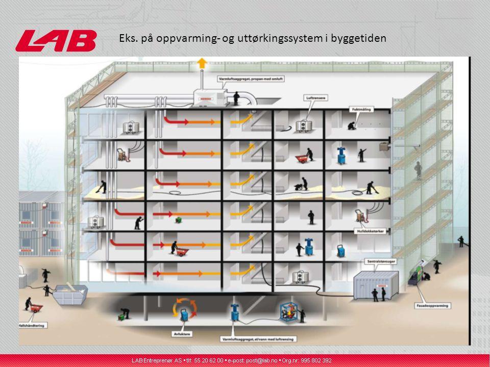 Eks. på oppvarming- og uttørkingssystem i byggetiden