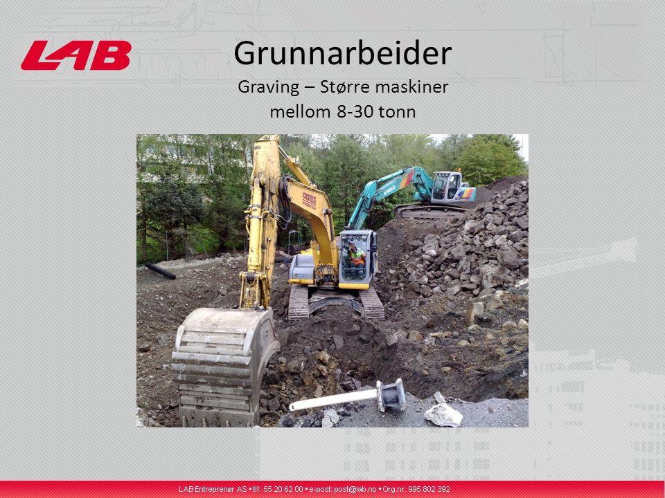 Grunnarbeider Graving – Større maskiner mellom 8-30 tonn