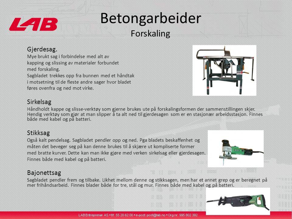 Betongarbeider Forskaling Gjerdesag.