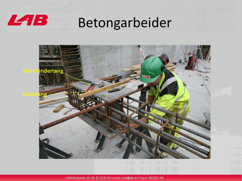 Betongarbeider Muletang «Jernbindertang»
