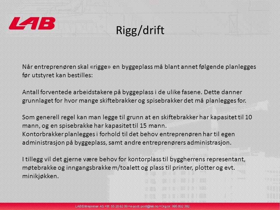 Rigg/drift Når entreprenøren skal «rigge» en byggeplass må blant annet følgende planlegges før utstyret kan bestilles: Antall forventede arbeidstakere