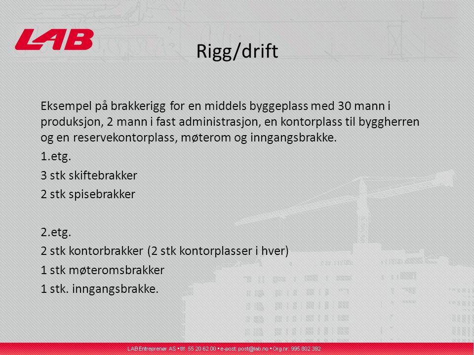 Rigg/drift Eksempel på brakkerigg for en middels byggeplass med 30 mann i produksjon, 2 mann i fast administrasjon, en kontorplass til byggherren og e