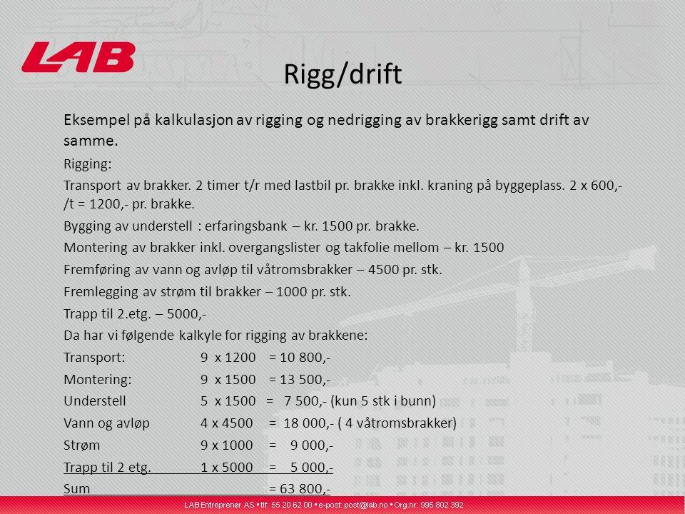 Rigg/drift Eksempel på kalkulasjon av rigging og nedrigging av brakkerigg samt drift av samme. Rigging: Transport av brakker. 2 timer t/r med lastbil