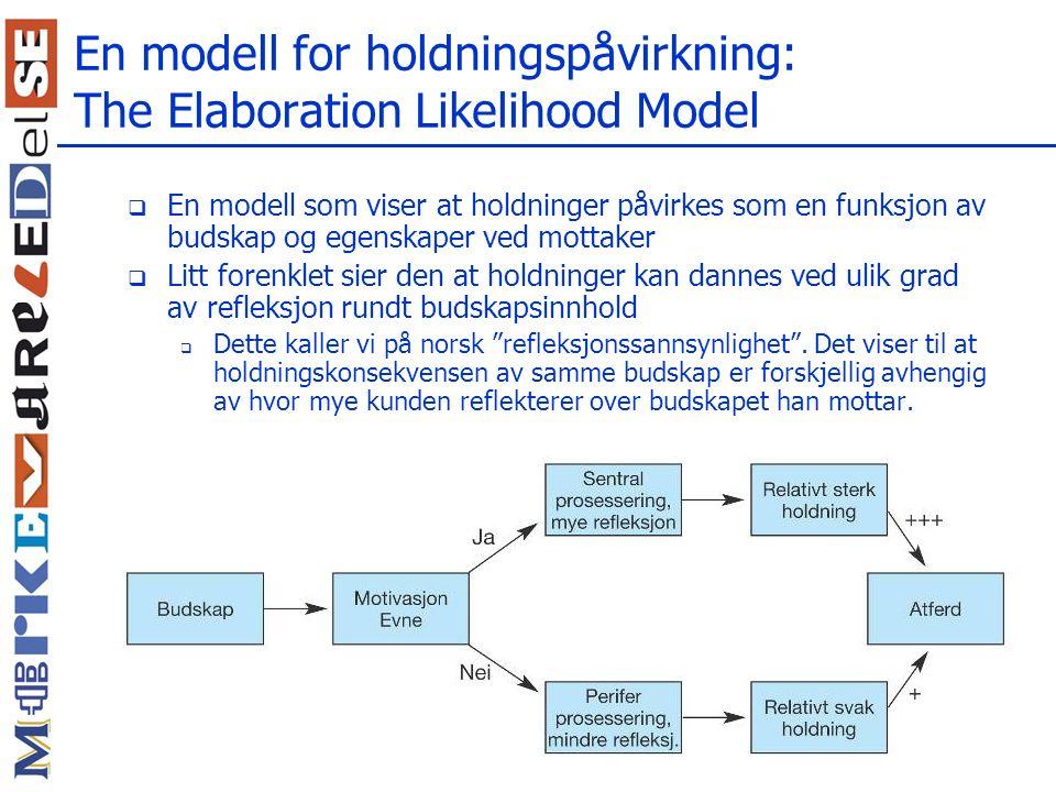 En modell for holdningspåvirkning: The Elaboration Likelihood Model  En modell som viser at holdninger påvirkes som en funksjon av budskap og egenskaper ved mottaker  Litt forenklet sier den at holdninger kan dannes ved ulik grad av refleksjon rundt budskapsinnhold  Dette kaller vi på norsk refleksjonssannsynlighet .