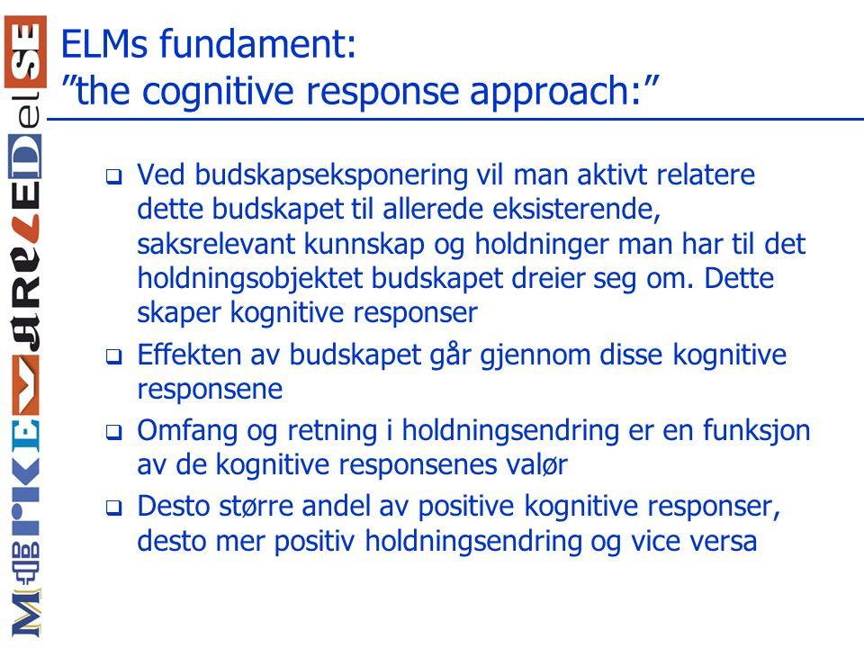 ELMs fundament: the cognitive response approach:  Ved budskapseksponering vil man aktivt relatere dette budskapet til allerede eksisterende, saksrelevant kunnskap og holdninger man har til det holdningsobjektet budskapet dreier seg om.