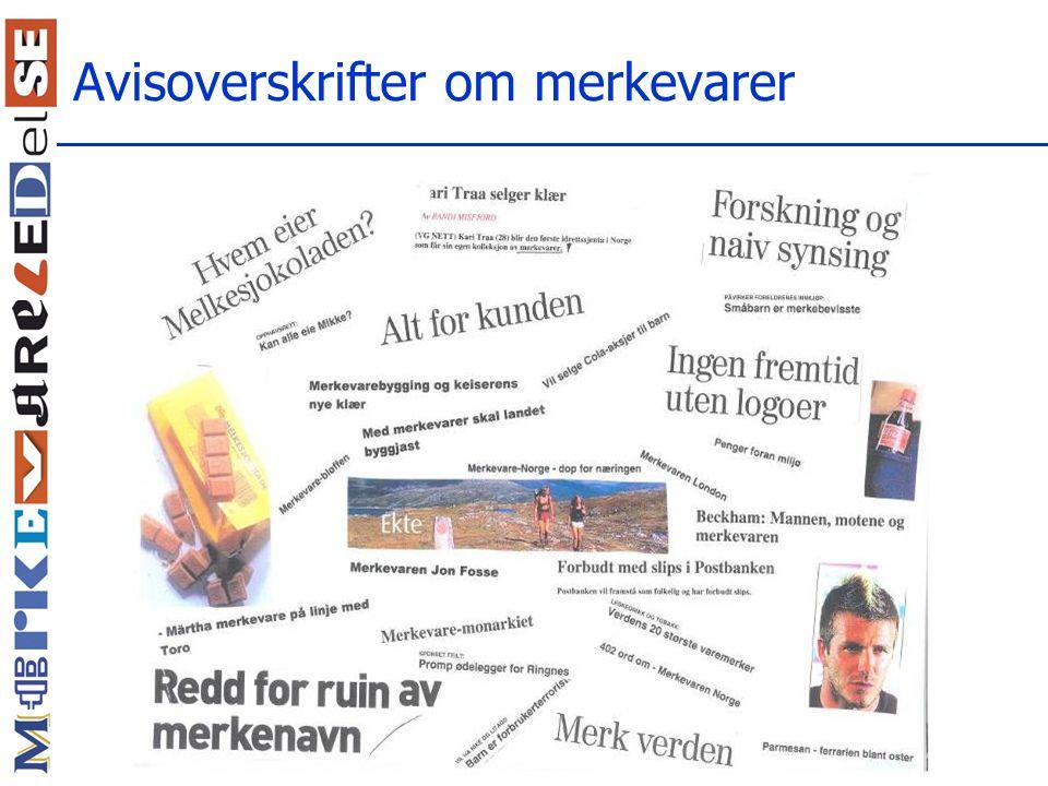 Norske merkevareskoler Starttidspunkt:  1993: Orkla merkevareskole  1996: Bergen Branding (NHH)  2001: Brand Leadership (BI)  2002: Executive MBA i merkevareledelse (NHH) Noen andre merkevareskoler:  Sørlandet Merkevareskole (BI)  Tine Merkevareskole  Rieber Branding (NHH)