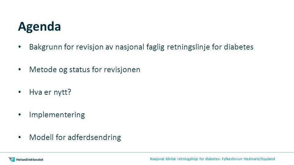 Agenda Bakgrunn for revisjon av nasjonal faglig retningslinje for diabetes Metode og status for revisjonen Hva er nytt? Implementering Modell for adfe