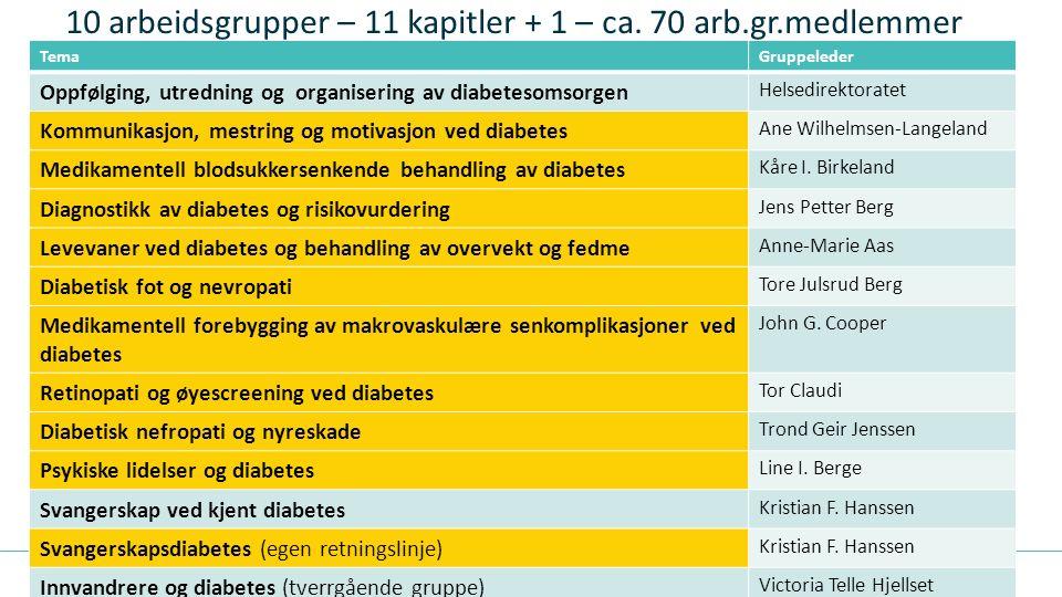 10 arbeidsgrupper – 11 kapitler + 1 – ca. 70 arb.gr.medlemmer TemaGruppeleder Oppfølging, utredning og organisering av diabetesomsorgen Helsedirektora