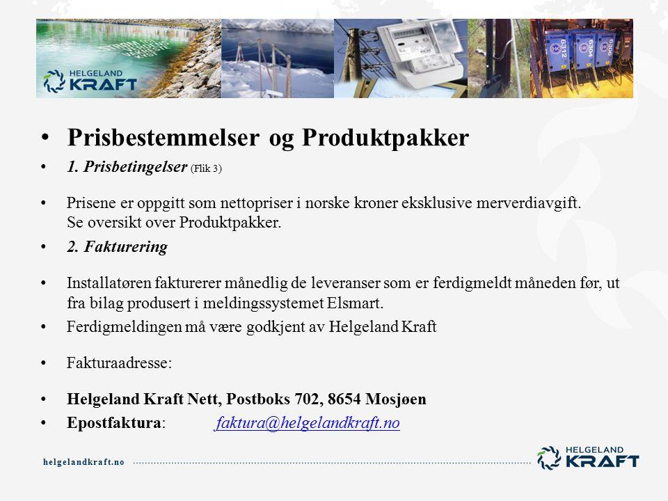 helgelandkraft.no Prisbestemmelser og Produktpakker 1.