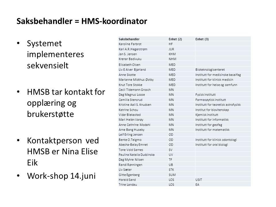 Saksbehandler = HMS-koordinator Systemet implementeres sekvensielt HMSB tar kontakt for opplæring og brukerstøtte Kontaktperson ved HMSB er Nina Elise