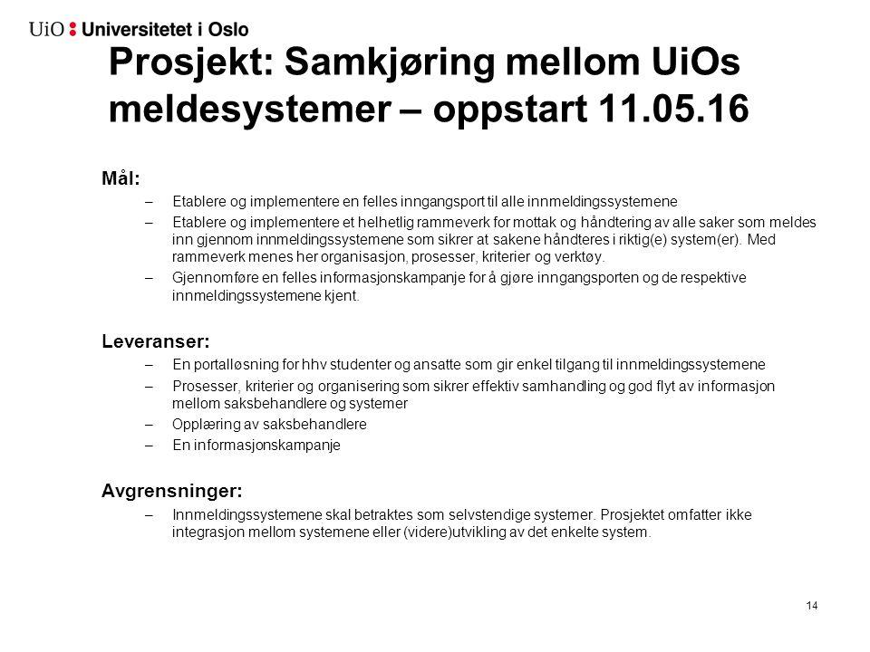 Prosjekt: Samkjøring mellom UiOs meldesystemer – oppstart 11.05.16 Mål: –Etablere og implementere en felles inngangsport til alle innmeldingssystemene