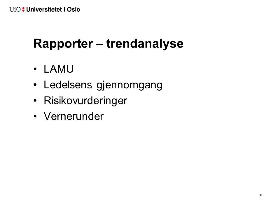 Rapporter – trendanalyse LAMU Ledelsens gjennomgang Risikovurderinger Vernerunder 18