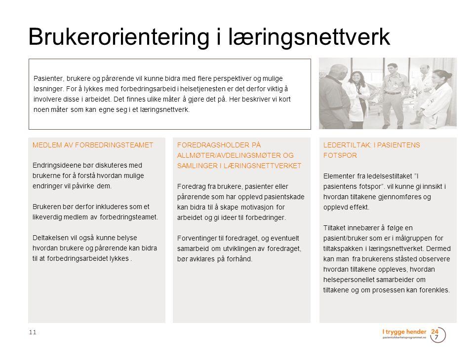 Brukerorientering i læringsnettverk 11 Pasienter, brukere og pårørende vil kunne bidra med flere perspektiver og mulige løsninger.