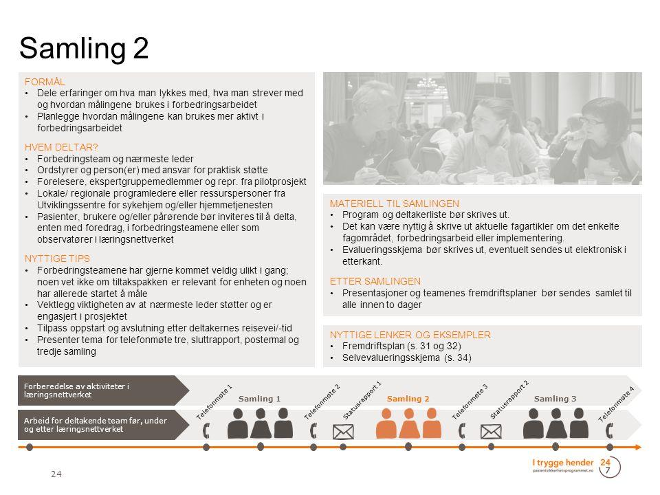 Samling 2 24 FORMÅL Dele erfaringer om hva man lykkes med, hva man strever med og hvordan målingene brukes i forbedringsarbeidet Planlegge hvordan målingene kan brukes mer aktivt i forbedringsarbeidet HVEM DELTAR.