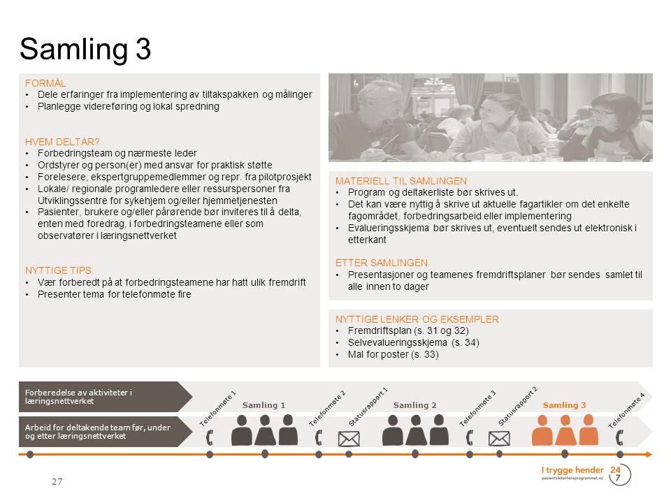 Samling 3 27 FORMÅL Dele erfaringer fra implementering av tiltakspakken og målinger Planlegge videreføring og lokal spredning HVEM DELTAR.