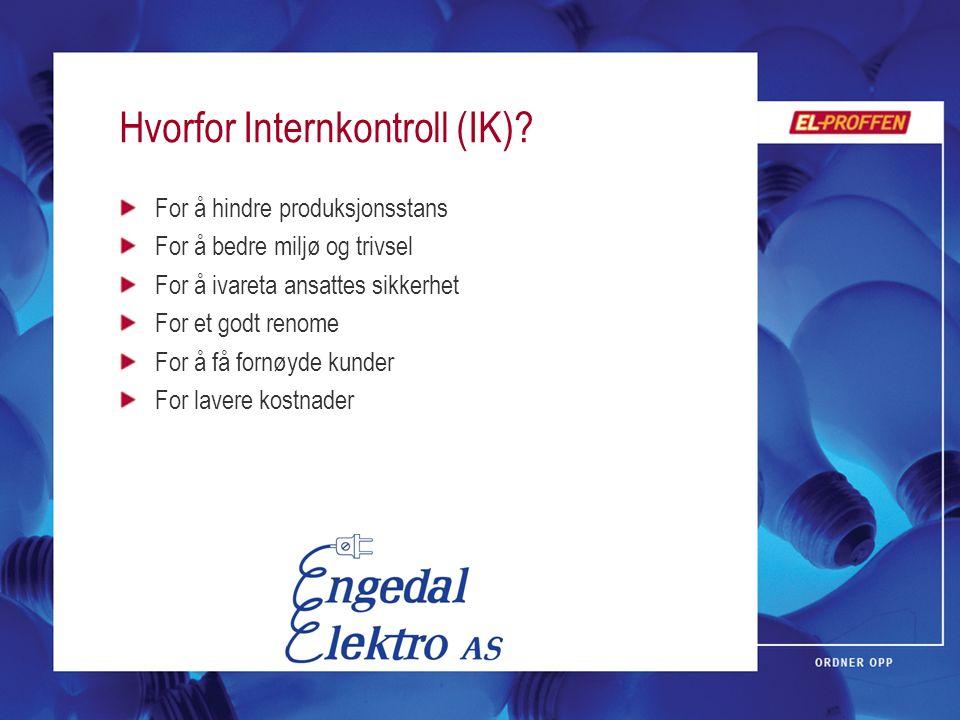 Hvorfor Internkontroll (IK)? For å hindre produksjonsstans For å bedre miljø og trivsel For å ivareta ansattes sikkerhet For et godt renome For å få f