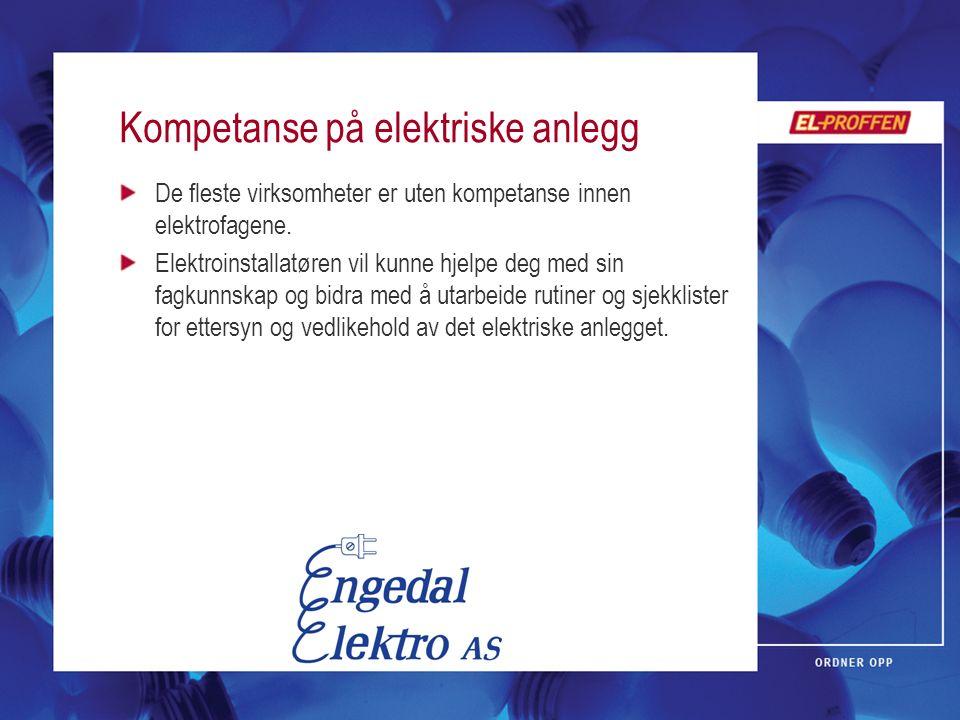 Kompetanse på elektriske anlegg De fleste virksomheter er uten kompetanse innen elektrofagene. Elektroinstallatøren vil kunne hjelpe deg med sin fagku