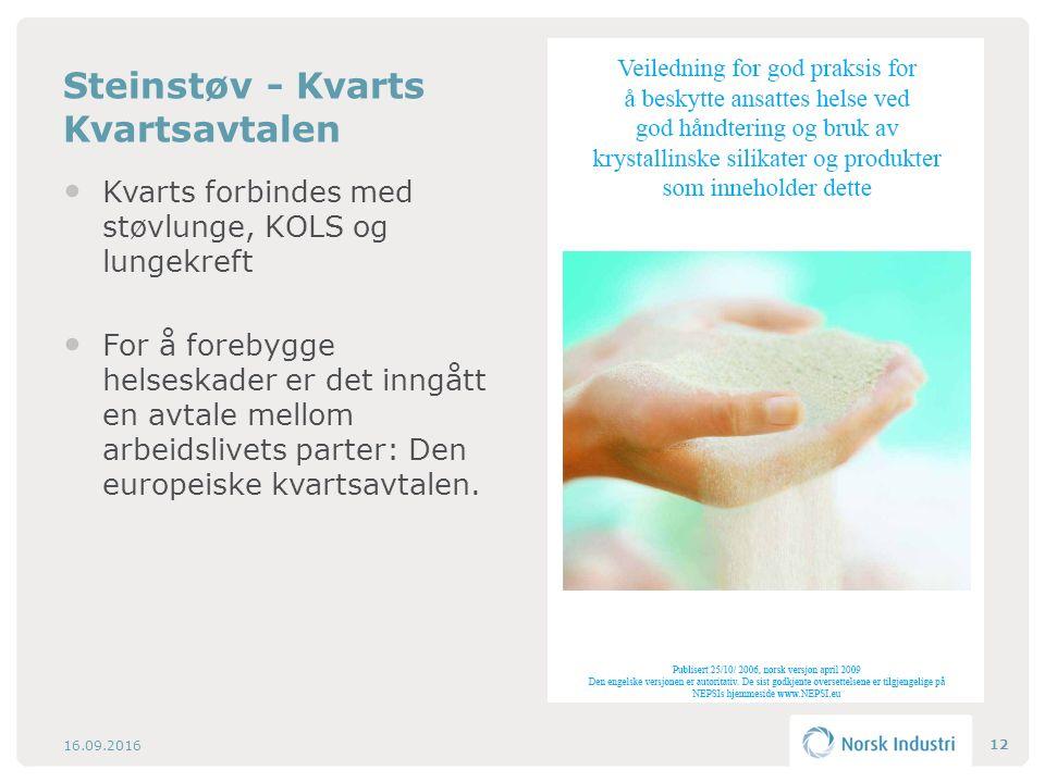 Steinstøv - Kvarts Kvartsavtalen Kvarts forbindes med støvlunge, KOLS og lungekreft For å forebygge helseskader er det inngått en avtale mellom arbeidslivets parter: Den europeiske kvartsavtalen.
