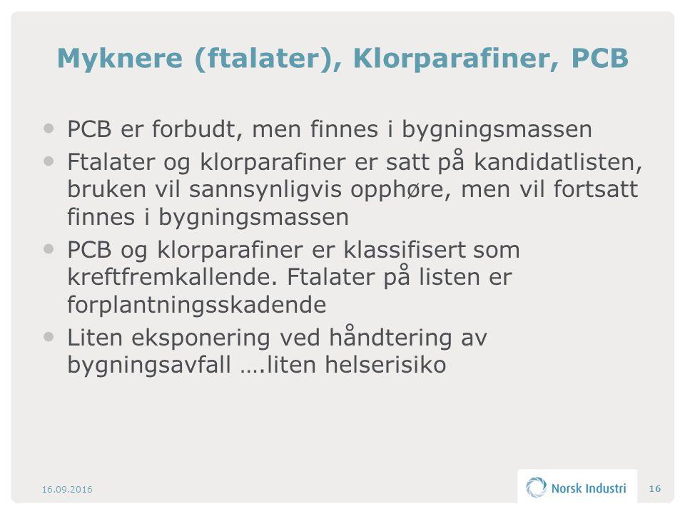 Myknere (ftalater), Klorparafiner, PCB PCB er forbudt, men finnes i bygningsmassen Ftalater og klorparafiner er satt på kandidatlisten, bruken vil sannsynligvis opphøre, men vil fortsatt finnes i bygningsmassen PCB og klorparafiner er klassifisert som kreftfremkallende.