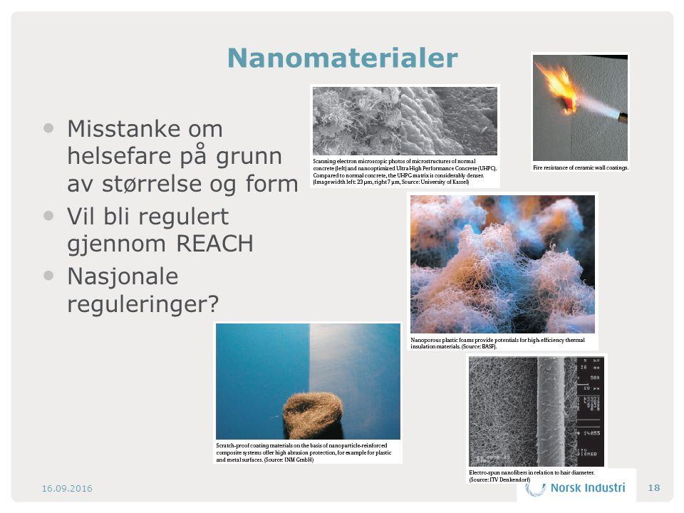 Nanomaterialer Misstanke om helsefare på grunn av størrelse og form Vil bli regulert gjennom REACH Nasjonale reguleringer? 16.09.2016 18
