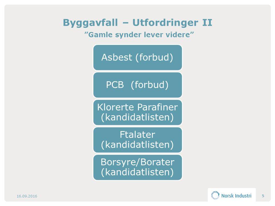 """Byggavfall – Utfordringer II """"Gamle synder lever videre"""" 16.09.2016 5"""
