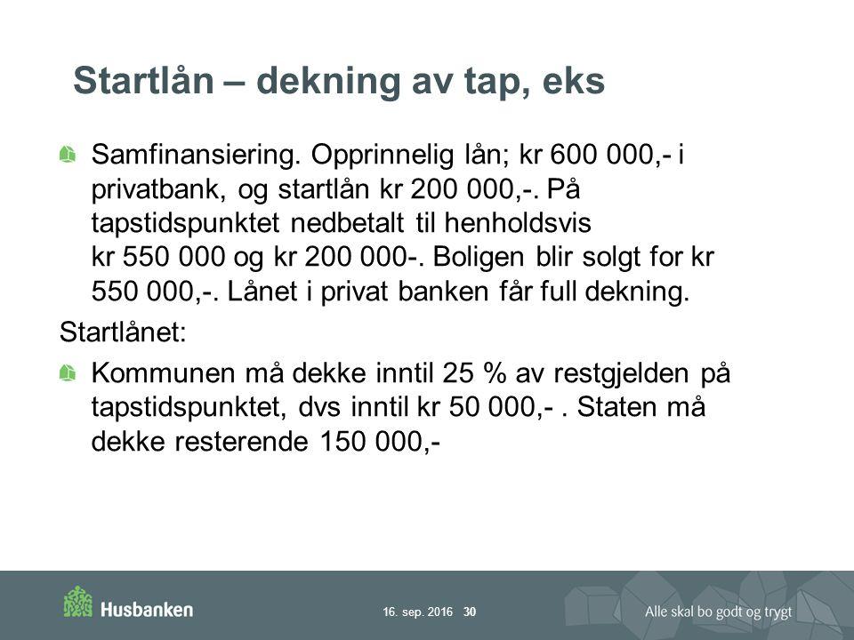 16. sep. 2016 30 Startlån – dekning av tap, eks Samfinansiering.