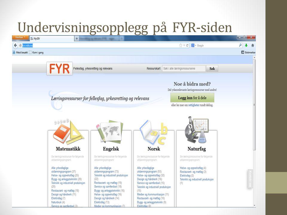 Undervisningsopplegg på FYR-siden